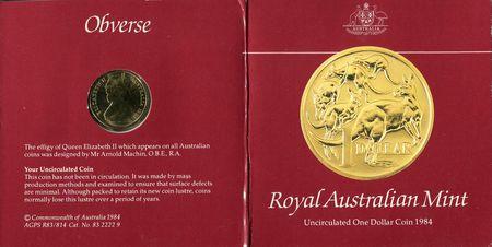 Home :: Australian Coins :: Australian Decimal Coins 1966 - 2019 :: 1984  Kangaroo One Dollar ($1) Australian Decimal Uncirculated Coin in Red Card