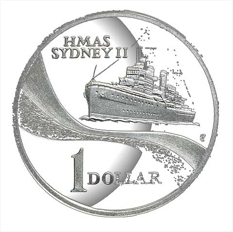 2000 SILVER PROOF $1 ONE DOLLAR HMAS SYDNEY II