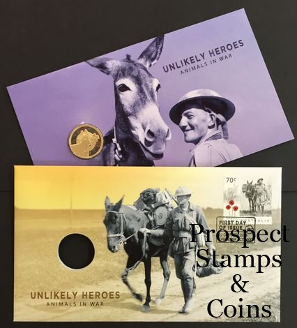 Donkeys Coloured $1 Coin 2015 Australia PNC Unlikely Heroes Animals in War