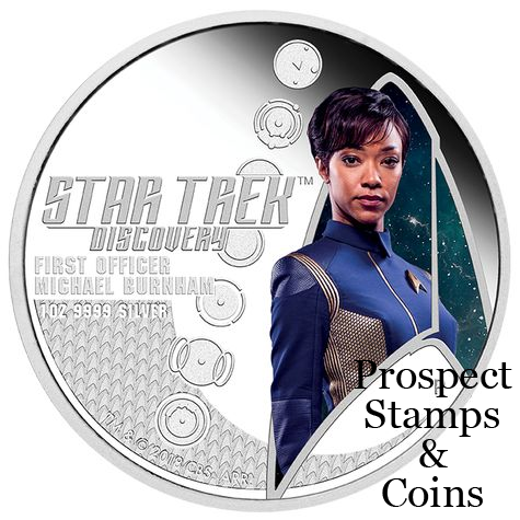 2018 Star Trek Discovery First Officer Michael Burnham & U S S  Discovery  NCC-1301 1oz Silver Proof Two Coin Set