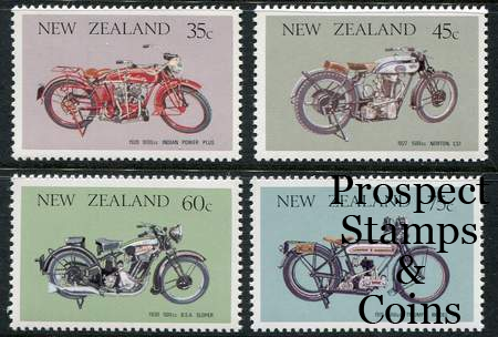 1986 Vintage Motorcycles 4 New Zealand Muh Stamps