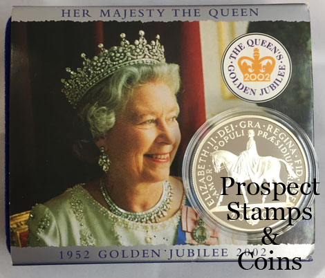 2002 Great Britain Queen Elizabeth II Golden Jubilee Five Pound Silver  Proof Coin