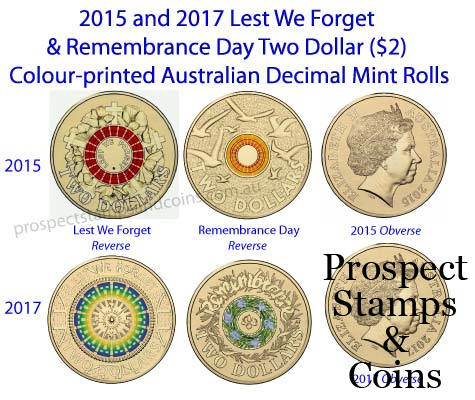 Australian Coins Australian Decimal Mint Rolls 2017 And 2015 Lest We Forget And