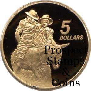 1990 ANZAC Five Dollar Bronze Proof Coins